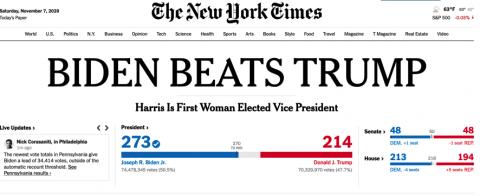 """Image of NY Times headline """"BIDEN BEATS TRUMP"""""""