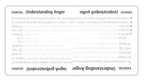 Image showing text of exercise in understanding anger from mind over mood