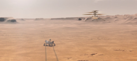 Screenshot of JPL animation showing helicopter on Mars