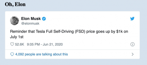 Elon Musk tweeted again, irresponsibly and immorally pushing Autopilot