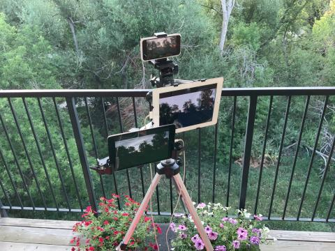 An iPhone and two iPads are shown attached to a tripod next to flowers