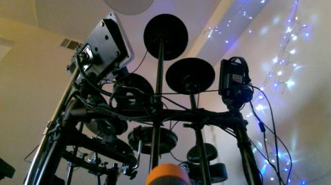 electronic drum components as seen from a low angle