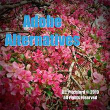 "Picture of crabapple blossoms with text ""Adobe Alternatives"""
