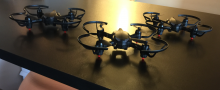 Glamour shot of three CoDrone drones