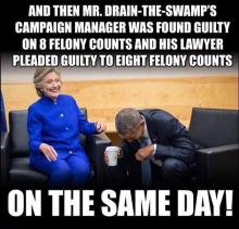 Meme downloaded from Twitter joking about POTUS criminality