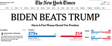 "Image of NY Times headline ""BIDEN BEATS TRUMP"""