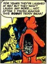 comic panel showing illustration of man tinkering with robot teddy bear