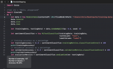 Image showing swift code used to create MLDataTable in Xcode by Apple