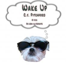 "A picture of a dog wearing sunglasses thinks ""Wake Up"""